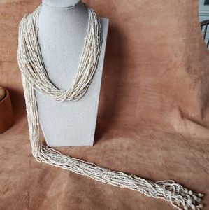 Cream seed beaded scarf necklace